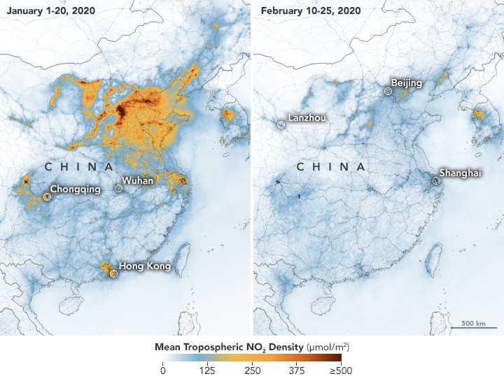 Airborne Nitrogen Dioxide Plummets Over China due to Corona