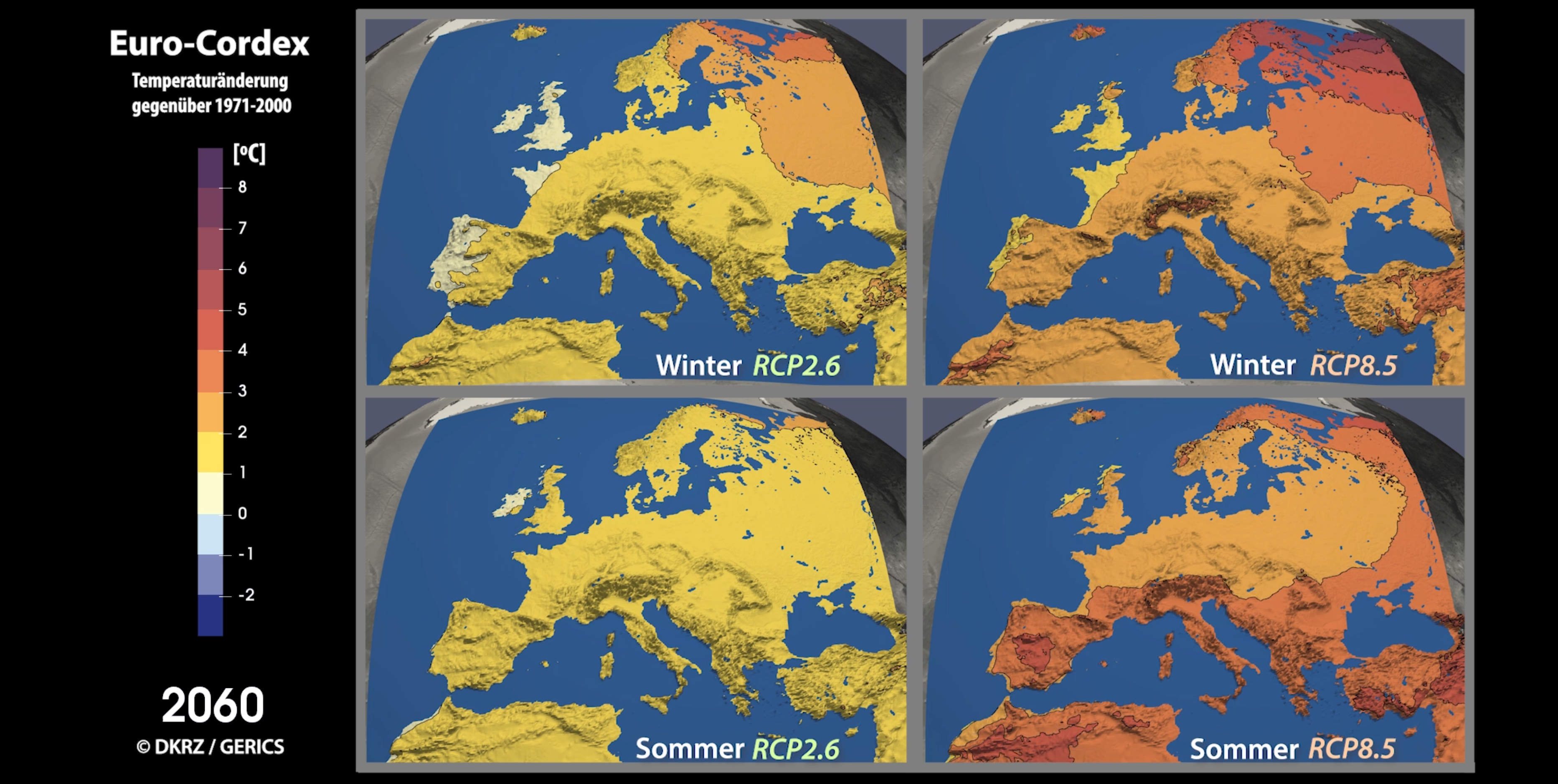 Climate projection year 2060 of RCP2.6 and RCP8.5 in Europe